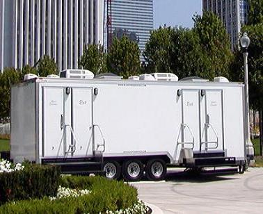 Special event restrooms showers all american waste for Portable bathroom trailers